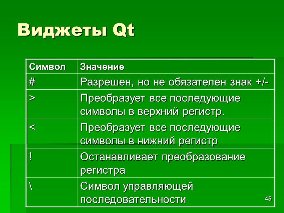 45 Виджеты Qt СимволЗначение # Разрешен, но не обязателен знак +/- > Преобразует все последующие символы в верхний регистр. < Преобразует все последую