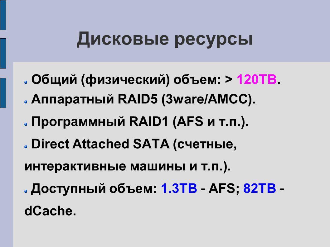 Остальные ресурсы 4 машины для интерактивной работы: 2 - Intel Core 2 Duo; 2 - AMD Athlon.