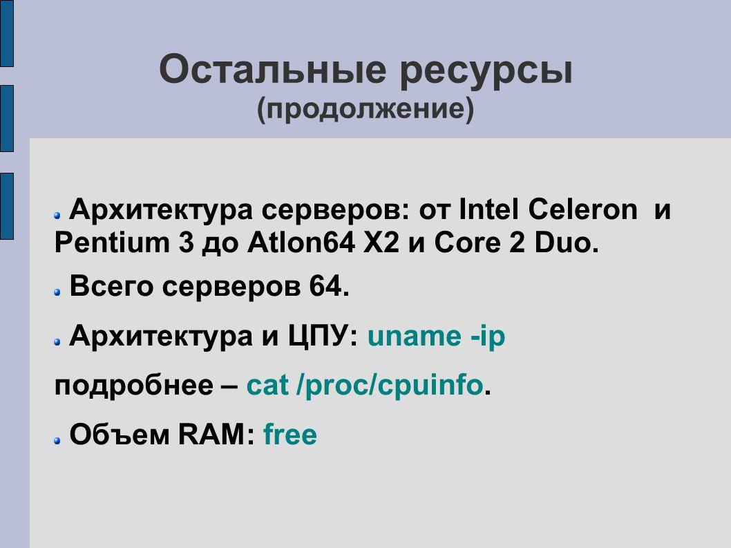 Остальные ресурсы (продолжение) Архитектура серверов: от Intel Celeron и Pentium 3 до Atlon64 X2 и Core 2 Duo.