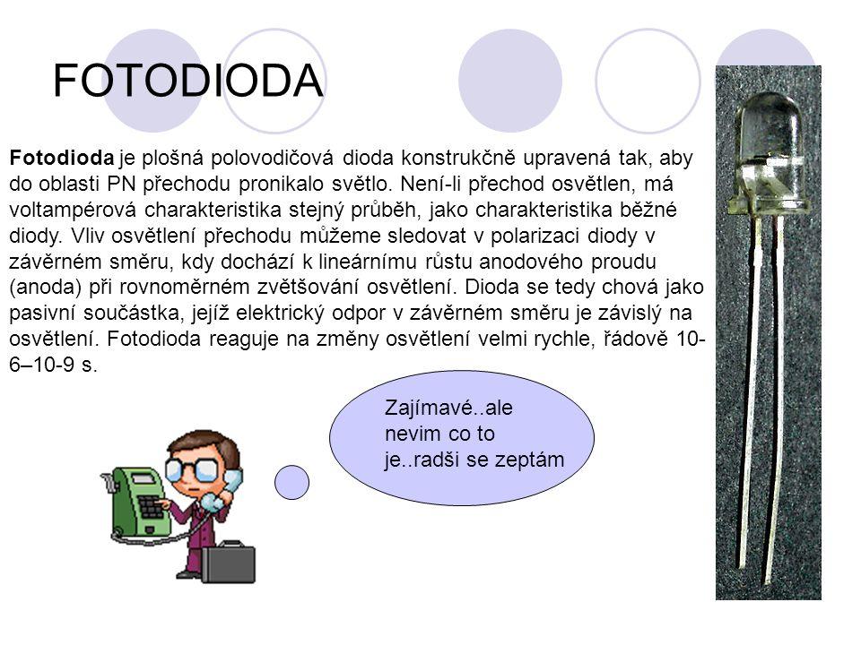 FOTODIODA Fotodioda je plošná polovodičová dioda konstrukčně upravená tak, aby do oblasti PN přechodu pronikalo světlo. Není-li přechod osvětlen, má v