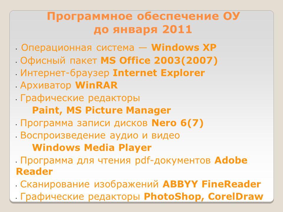 Программное обеспечение ОУ до января 2011 • Операционная система — Windows XP • Офисный пакет MS Office 2003(2007) • Интернет-браузер Internet Explorer • Архиватор WinRAR • Графические редакторы Paint, MS Picture Manager • Программа записи дисков Nero 6(7) • Воспроизведение аудио и видео Windows Media Player • Программа для чтения pdf-документов Adobe Reader • Сканирование изображений ABBYY FineReader • Графические редакторы PhotoShop, CorelDraw