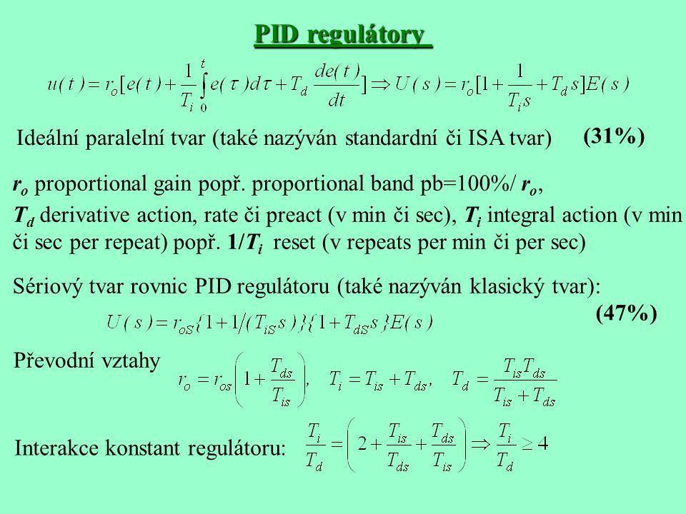 PID regulátory Ideální paralelní tvar (také nazýván standardní či ISA tvar) r o proportional gain popř. proportional band pb=100%/ r o, T d derivative