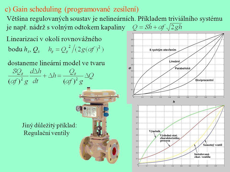 c) Gain scheduling (programované zesílení) Většina regulovaných soustav je nelineárních. Příkladem triviálního systému je např. nádrž s volným odtokem
