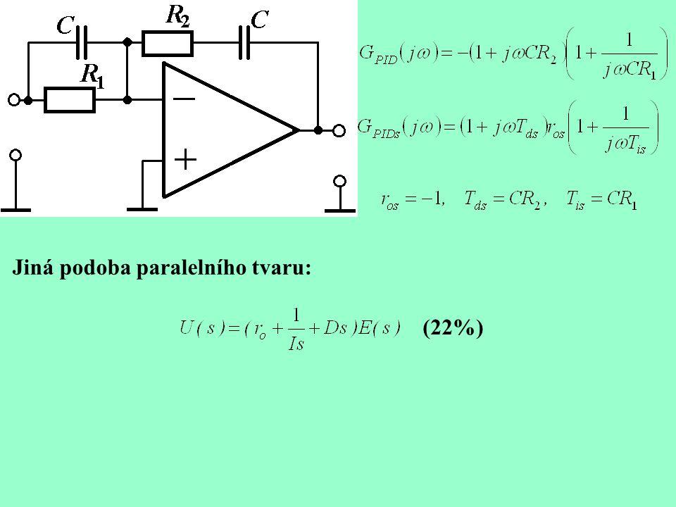 Diskretizace Aproximace integrační složky: Levá obdélníková metoda: Lichoběžníková metoda: Nejjednodušší aproximace derivační složky: Rozumnější je ovšem vyjít z přenosu kde parametr  je mezi 0,05 a 0,2.