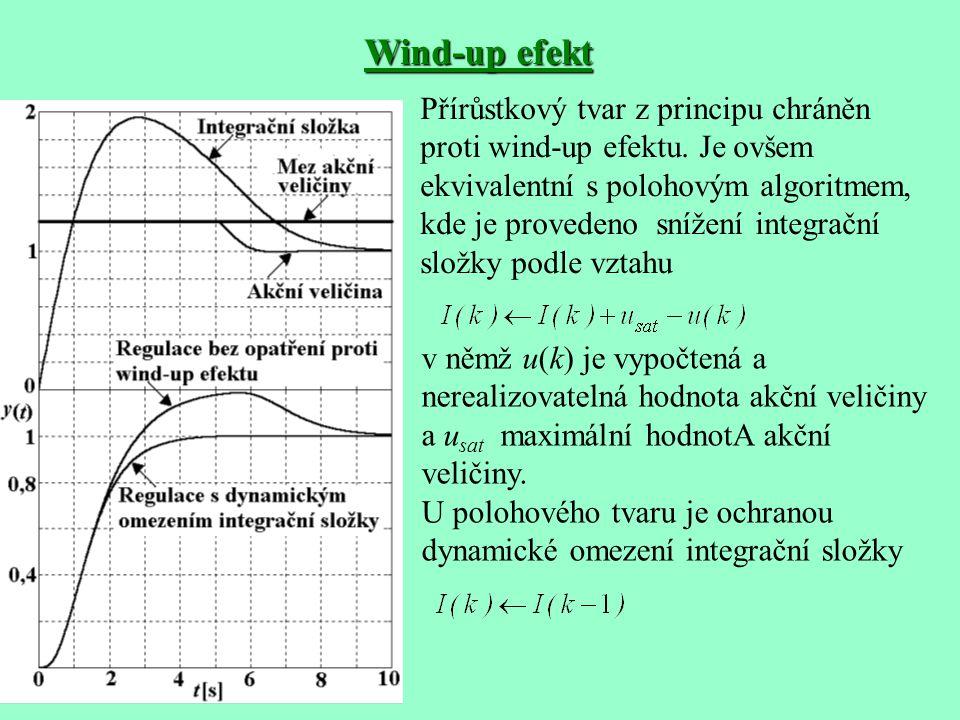 Wind-up efekt Přírůstkový tvar z principu chráněn proti wind-up efektu. Je ovšem ekvivalentní s polohovým algoritmem, kde je provedeno snížení integra