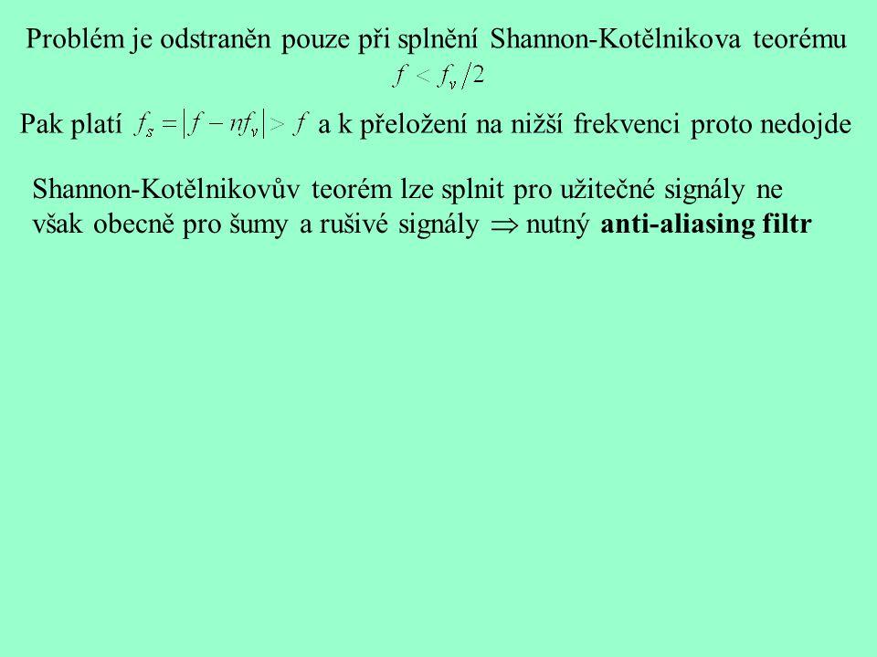 Problém je odstraněn pouze při splnění Shannon-Kotělnikova teorému Shannon-Kotělnikovův teorém lze splnit pro užitečné signály ne však obecně pro šumy