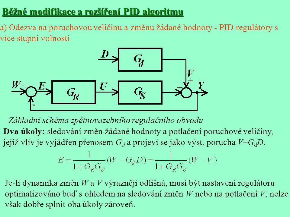 Běžné modifikace a rozšíření PID algoritmu Základní schéma zpětnovazebního regulačního obvodu Dva úkoly: sledování změn žádané hodnoty a potlačení poruchové veličiny, jejíž vliv je vyjádřen přenosem G d a projeví se jako výst.