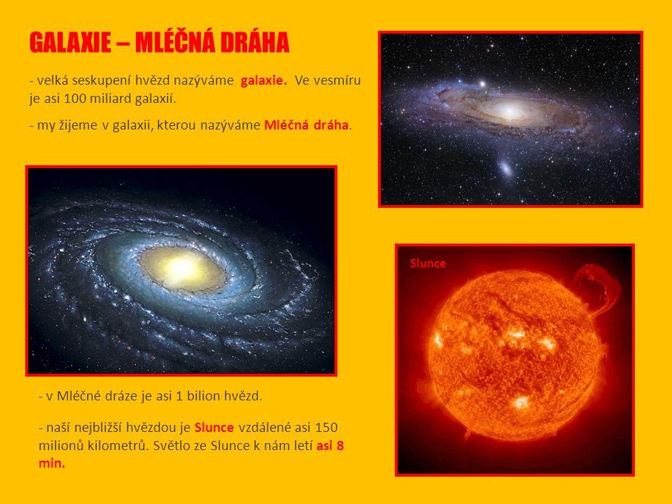 GALAXIE – MLÉČNÁ DRÁHA - velká seskupení hvězd nazýváme galaxie.