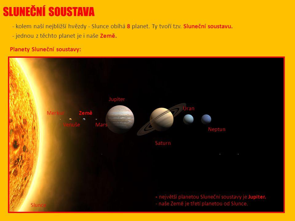 SLUNEČNÍ SOUSTAVA - kolem naší nejbližší hvězdy - Slunce obíhá 8 planet.