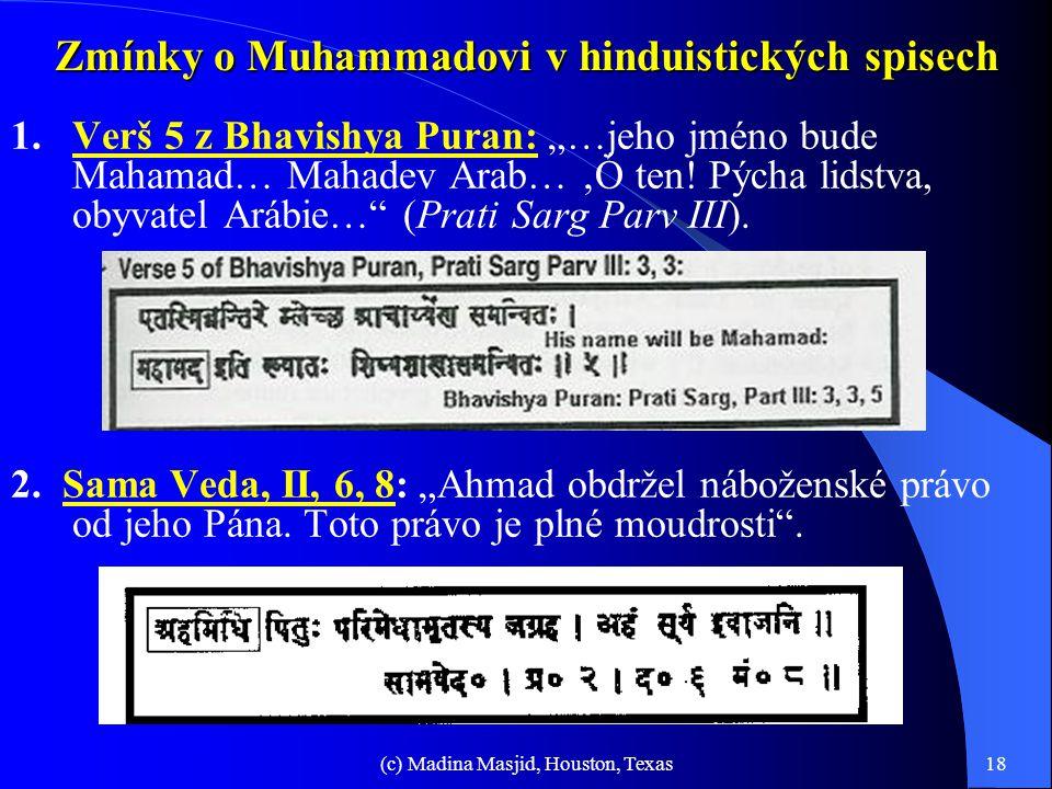 """(c) Madina Masjid, Houston, Texas17 Proroctví svatých Knih/Tóra (pokrač.-5) 12. Uskutečnění proroctví: """"…promluví-li prorok jménem Hospodinovým a věc"""