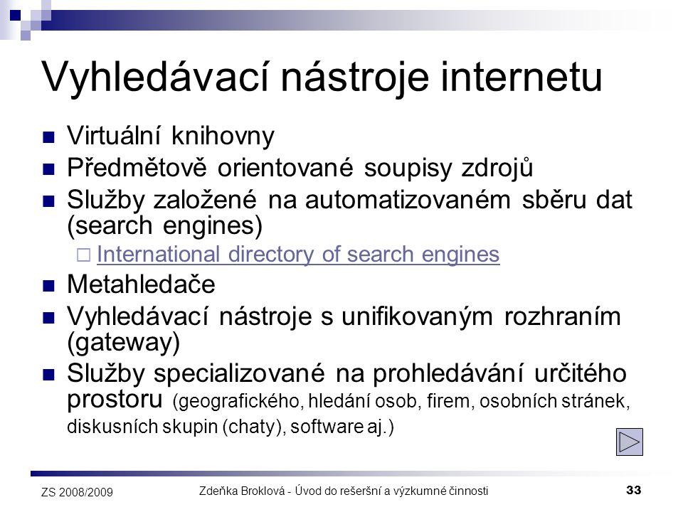 Zdeňka Broklová - Úvod do rešeršní a výzkumné činnosti33 ZS 2008/2009 Vyhledávací nástroje internetu  Virtuální knihovny  Předmětově orientované sou