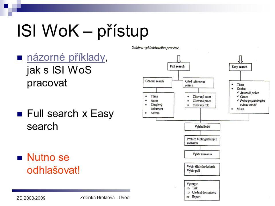 Zdeňka Broklová - Úvod do rešeršní a výzkumné činnosti44 ZS 2008/2009 ISI WoK – přístup  názorné příklady, jak s ISI WoS pracovat názorné příklady 