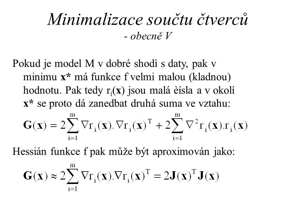Minimalizace součtu čtverců - obecně V Pokud je model M v dobré shodì s daty, pak v minimu x* má funkce f velmi malou (kladnou) hodnotu.