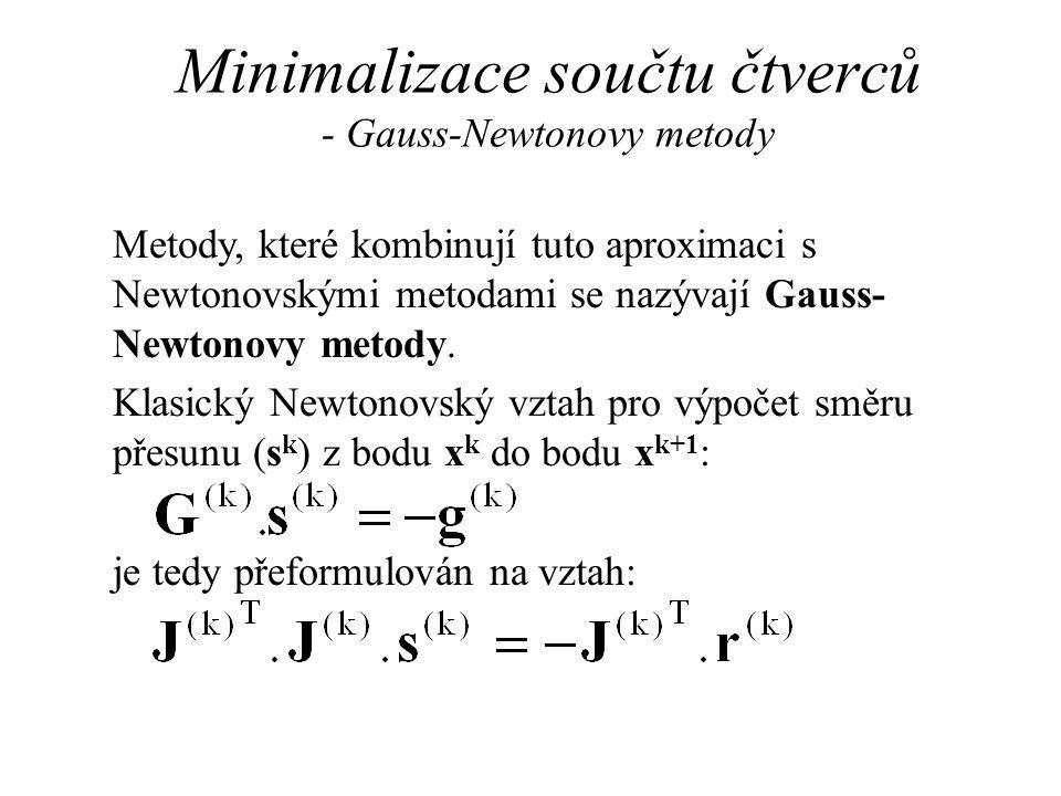 Minimalizace součtu čtverců - Gauss-Newtonovy metody Metody, které kombinují tuto aproximaci s Newtonovskými metodami se nazývají Gauss- Newtonovy metody.