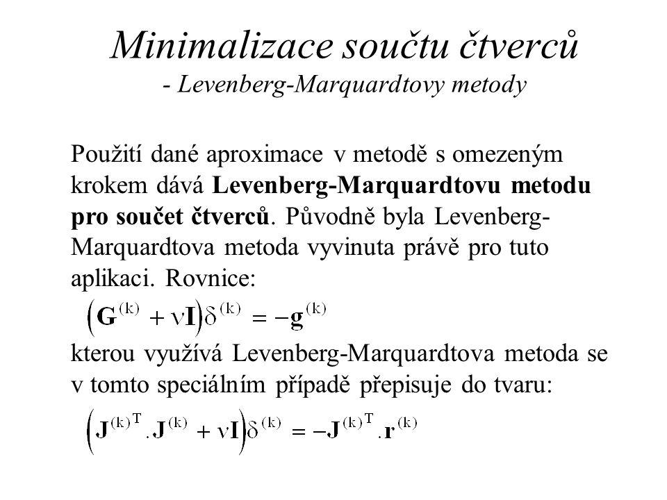 Minimalizace součtu čtverců - Levenberg-Marquardtovy metody Použití dané aproximace v metodě s omezeným krokem dává Levenberg-Marquardtovu metodu pro součet čtverců.
