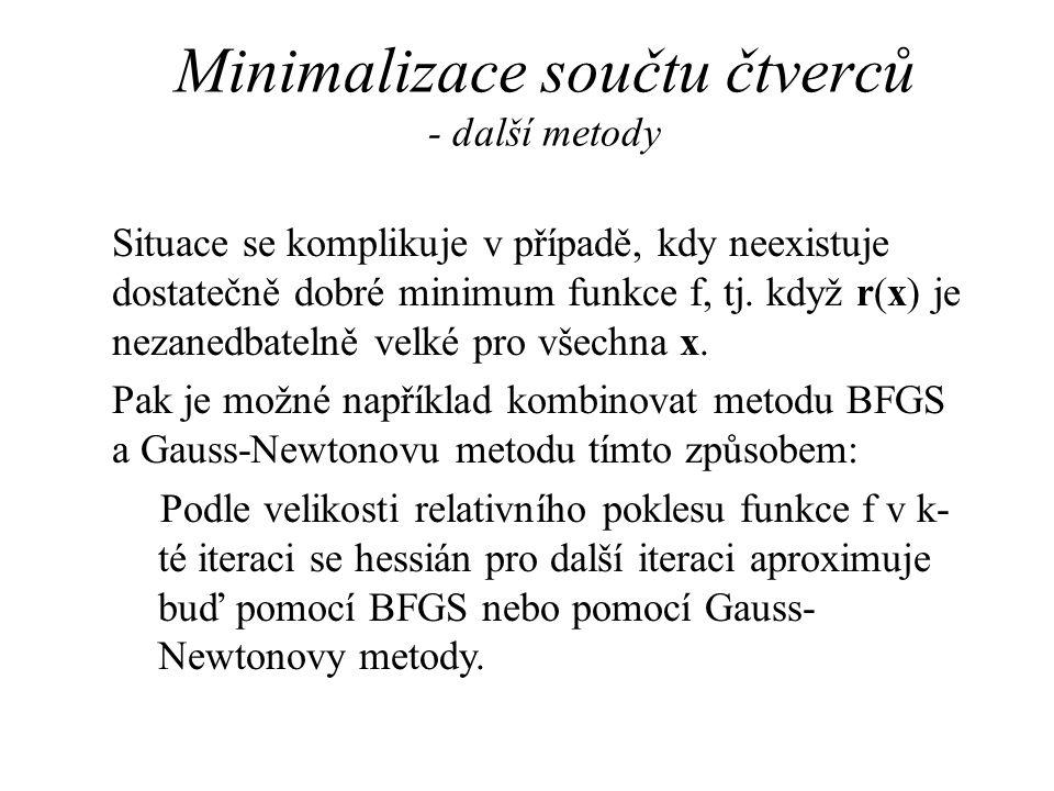 Minimalizace součtu čtverců - další metody Situace se komplikuje v případě, kdy neexistuje dostatečně dobré minimum funkce f, tj.