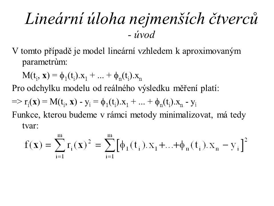 Lineární úloha nejmenších čtverců - úvod V tomto případě je model lineární vzhledem k aproximovaným parametrùm: M(t i, x) =  1 (t i ).x 1 +...