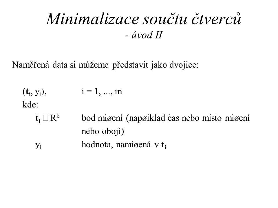 Minimalizace součtu čtverců - úvod II Naměřená data si můžeme představit jako dvojice: (t i, y i ), i = 1,..., m kde: t i  R k bod mìøení (napøíklad èas nebo místo mìøení nebo obojí) y i hodnota, namìøená v t i