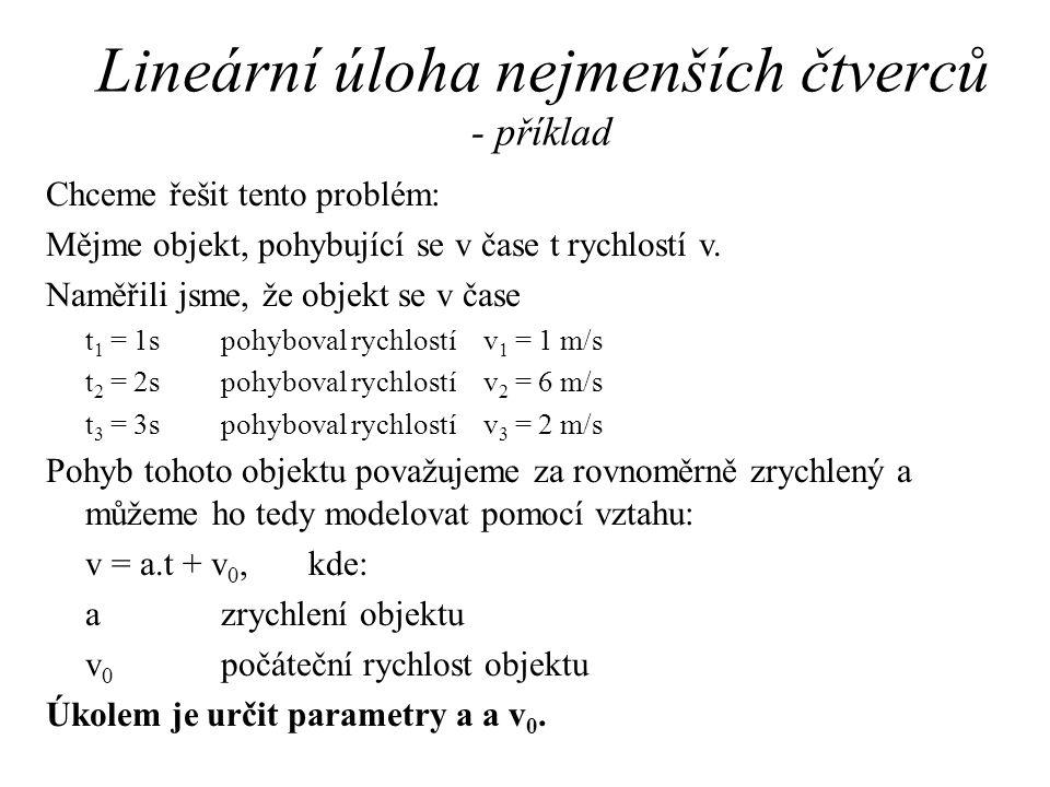 Lineární úloha nejmenších čtverců - příklad Chceme řešit tento problém: Mějme objekt, pohybující se v čase t rychlostí v.