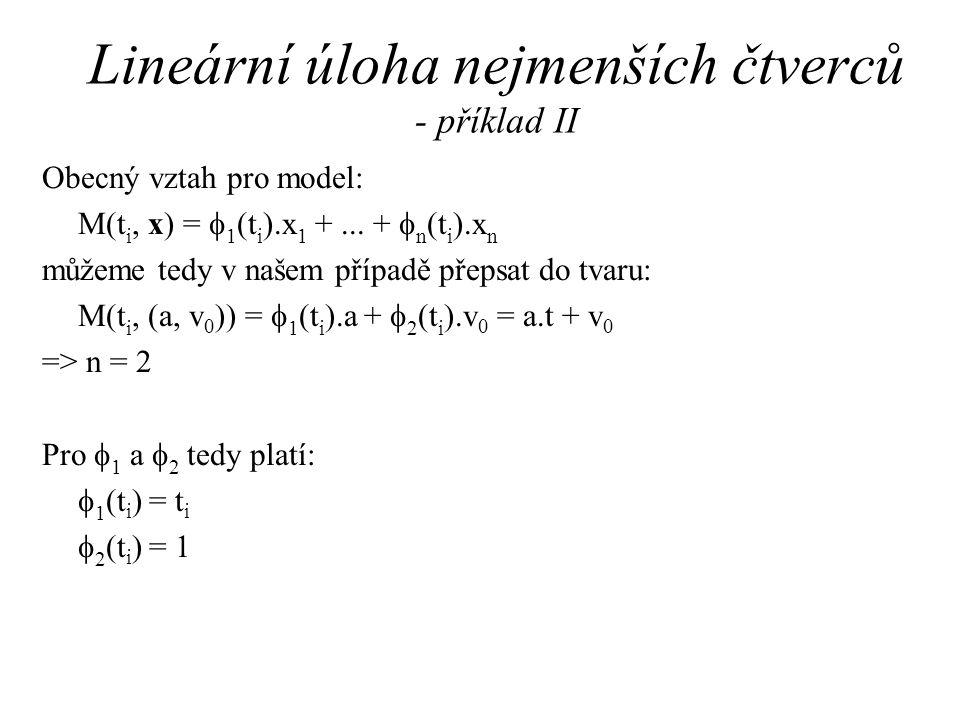 Lineární úloha nejmenších čtverců - příklad II Obecný vztah pro model: M(t i, x) =  1 (t i ).x 1 +...