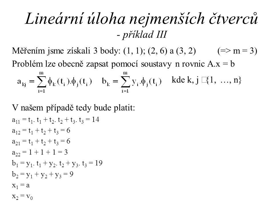 Lineární úloha nejmenších čtverců - příklad III Měřením jsme získali 3 body: (1, 1); (2, 6) a (3, 2) (=> m = 3) Problém lze obecně zapsat pomocí soustavy n rovnic A.x = b kde k, j  {1, …, n} V našem případě tedy bude platit: a 11 = t 1.