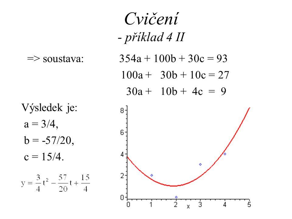 Cvičení - příklad 4 II => soustava: 354a + 100b + 30c = 93 100a + 30b + 10c = 27 30a + 10b + 4c = 9 Výsledek je: a = 3/4, b = -57/20, c = 15/4.