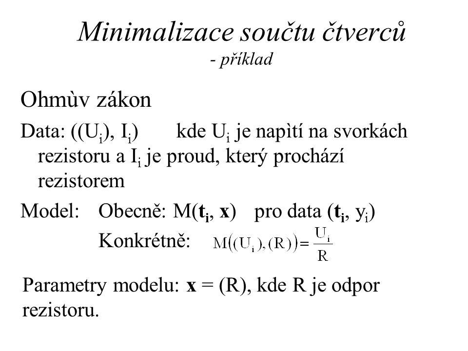 Minimalizace součtu čtverců - příklad Ohmùv zákon Data: ((U i ), I i )kde U i je napìtí na svorkách rezistoru a I i je proud, který prochází rezistorem Model:Obecně: M(t i, x) pro data (t i, y i ) Konkrétně: Parametry modelu: x = (R), kde R je odpor rezistoru.
