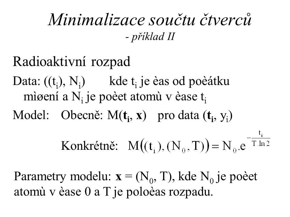 Minimalizace součtu čtverců - příklad II Radioaktivní rozpad Data: ((t i ), N i )kde t i je èas od poèátku mìøení a N i je poèet atomù v èase t i Model:Obecně: M(t i, x) pro data (t i, y i ) Konkrétně: Parametry modelu: x = (N 0, T), kde N 0 je poèet atomù v èase 0 a T je poloèas rozpadu.