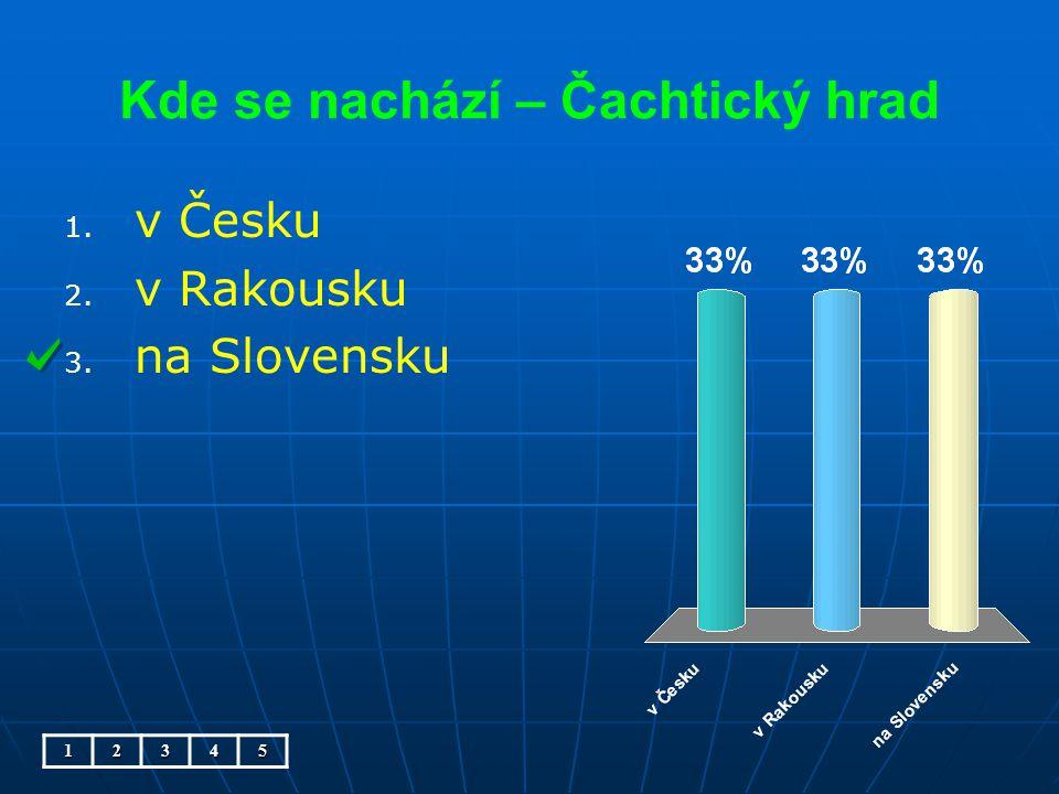 Kde se nachází – Čachtický hrad 1. 1. v Česku 2. 2. v Rakousku 3. 3. na Slovensku12345