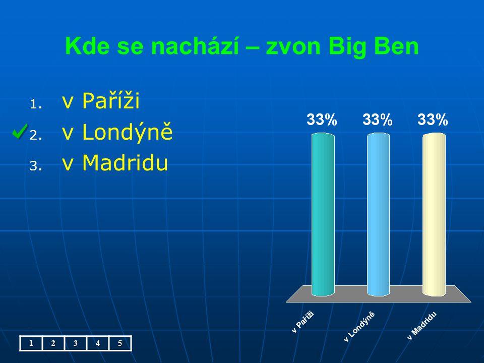 Kde se nachází – zvon Big Ben 1. 1. v Paříži 2. 2. v Londýně 3. 3. v Madridu12345