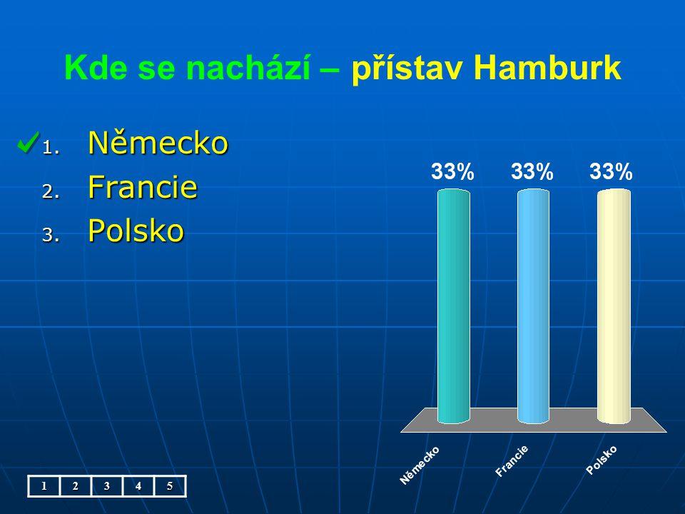 Kde se nachází – přístav Hamburk 1. Německo 2. Francie 3. Polsko 12345