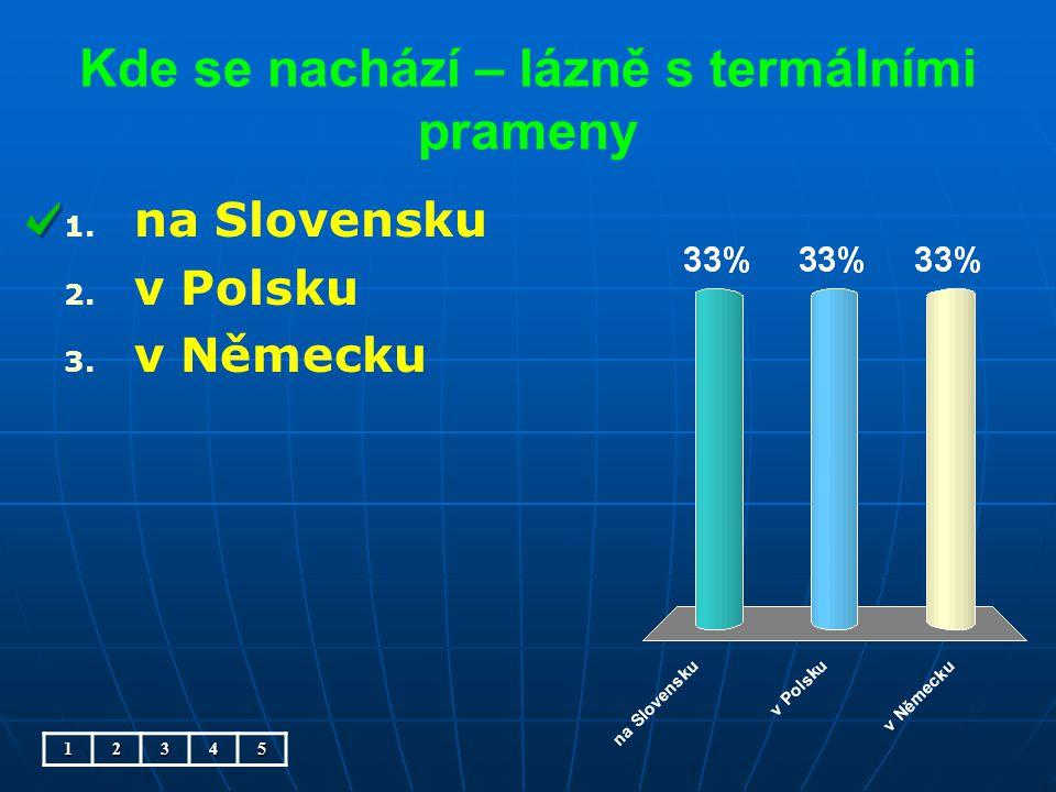Kde se nachází – lázně s termálními prameny 1. 1. na Slovensku 2. 2. v Polsku 3. 3. v Německu12345