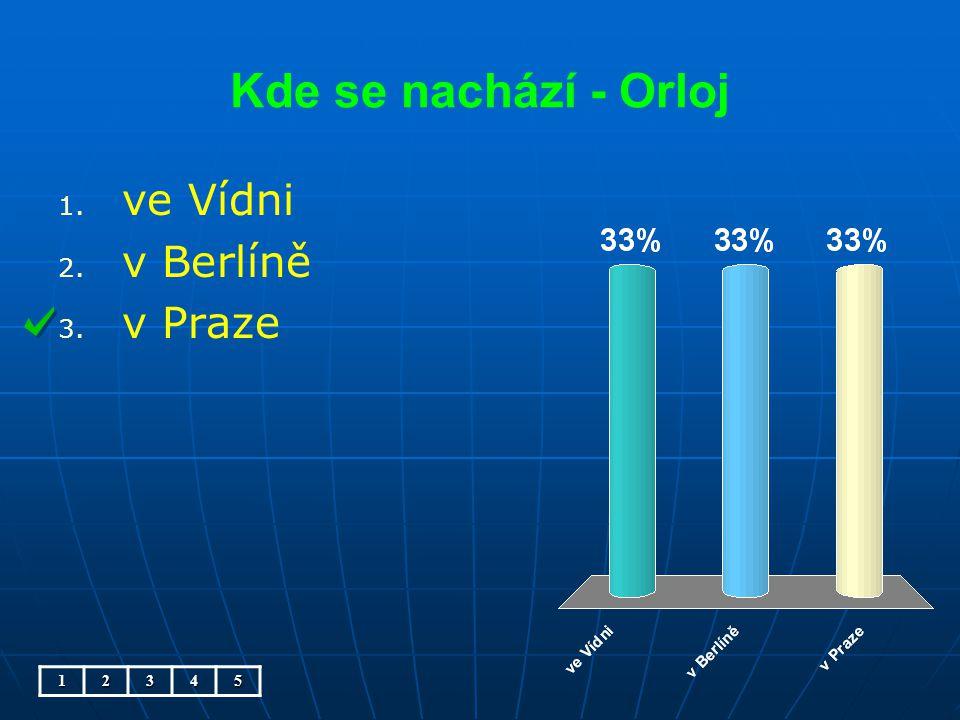 Kde se nachází - Orloj 1. 1. ve Vídni 2. 2. v Berlíně 3. 3. v Praze12345