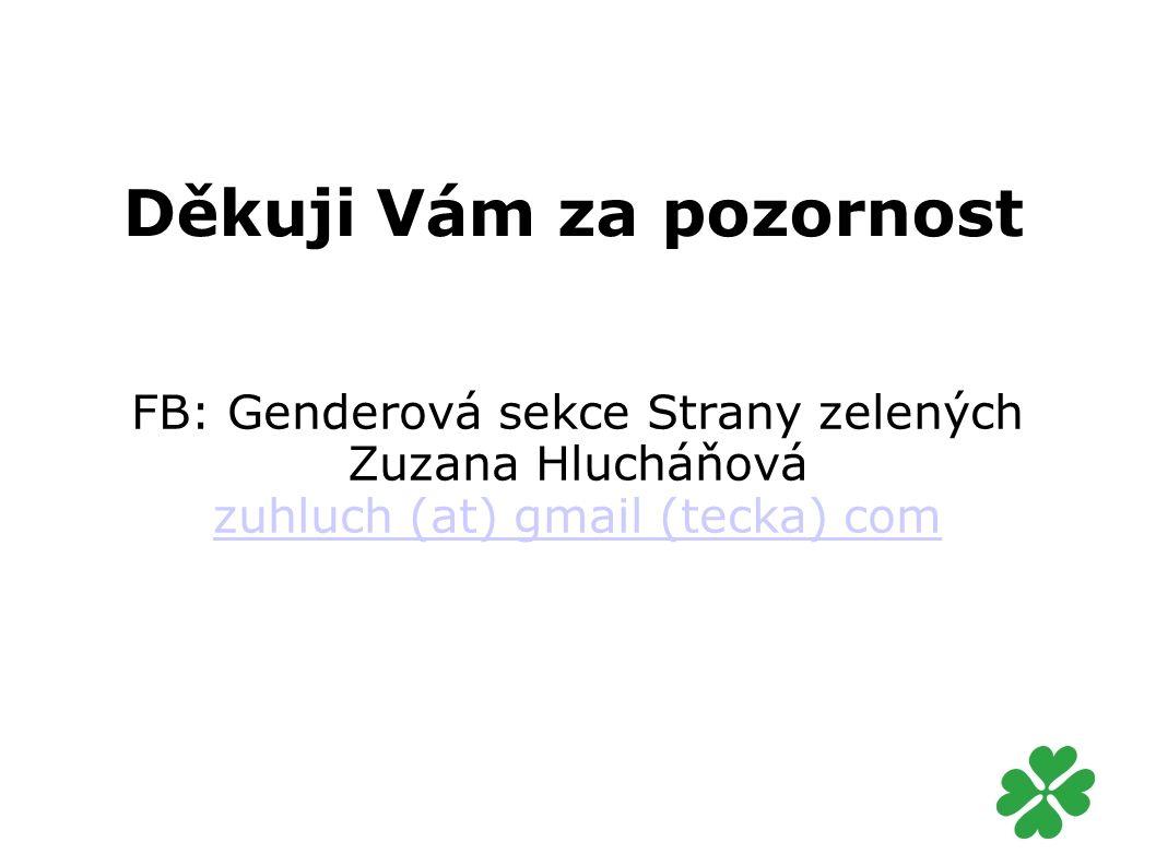 Děkuji Vám za pozornost FB: Genderová sekce Strany zelených Zuzana Hlucháňová zuhluch (at) gmail (tecka) com