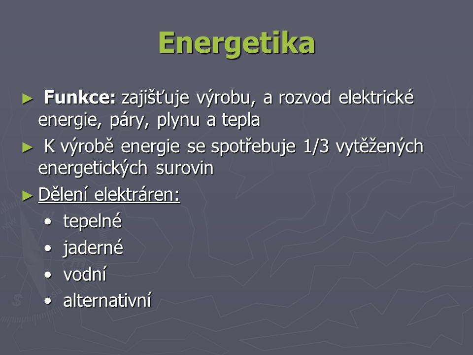 Energetika ► Funkce: zajišťuje výrobu, a rozvod elektrické energie, páry, plynu a tepla ► K výrobě energie se spotřebuje 1/3 vytěžených energetických