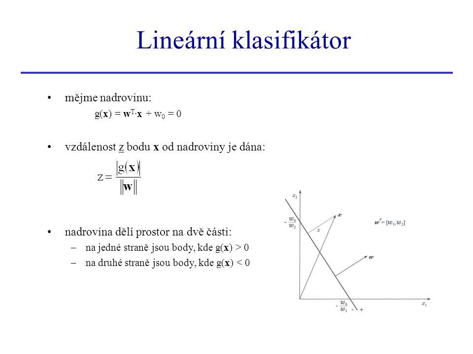 Lineární klasifikátor •mějme nadrovinu: g(x) = w T ∙x + w 0 = 0 •vzdálenost z bodu x od nadroviny je dána: •nadrovina dělí prostor na dvě části: –na j