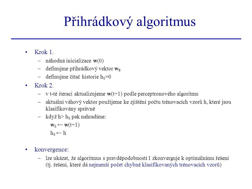Přihrádkový algoritmus •Krok 1. –náhodná inicializace w(0) –definujme přihrádkový vektor w S –definujme čítač historie h S =0 •Krok 2. –v t-té iteraci
