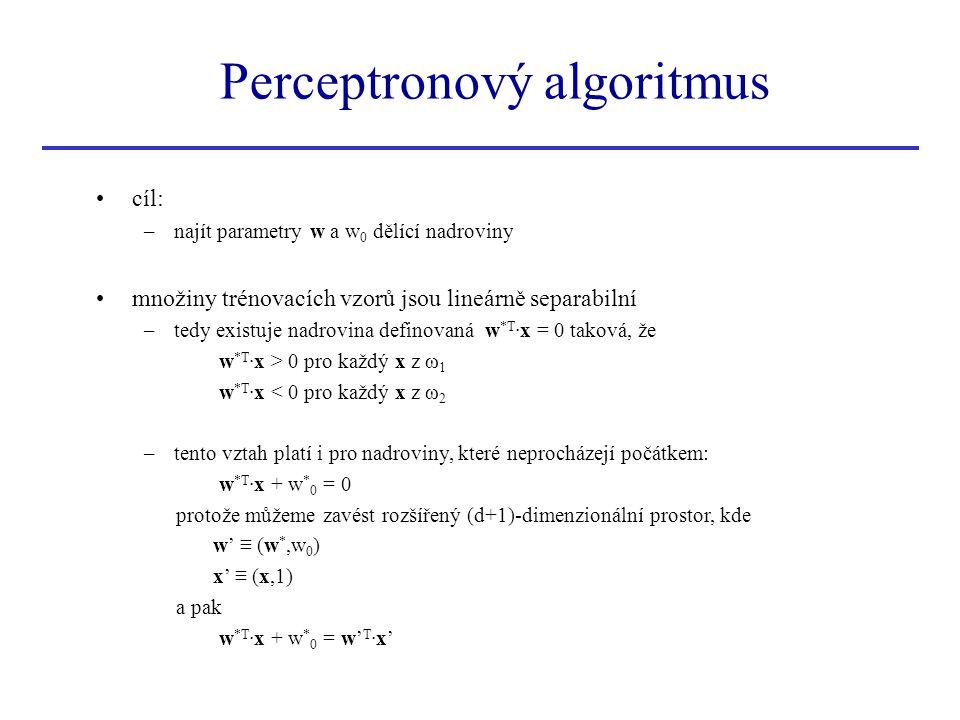 Perceptronový algoritmus •cíl: –najít parametry w a w 0 dělící nadroviny •množiny trénovacích vzorů jsou lineárně separabilní –tedy existuje nadrovina