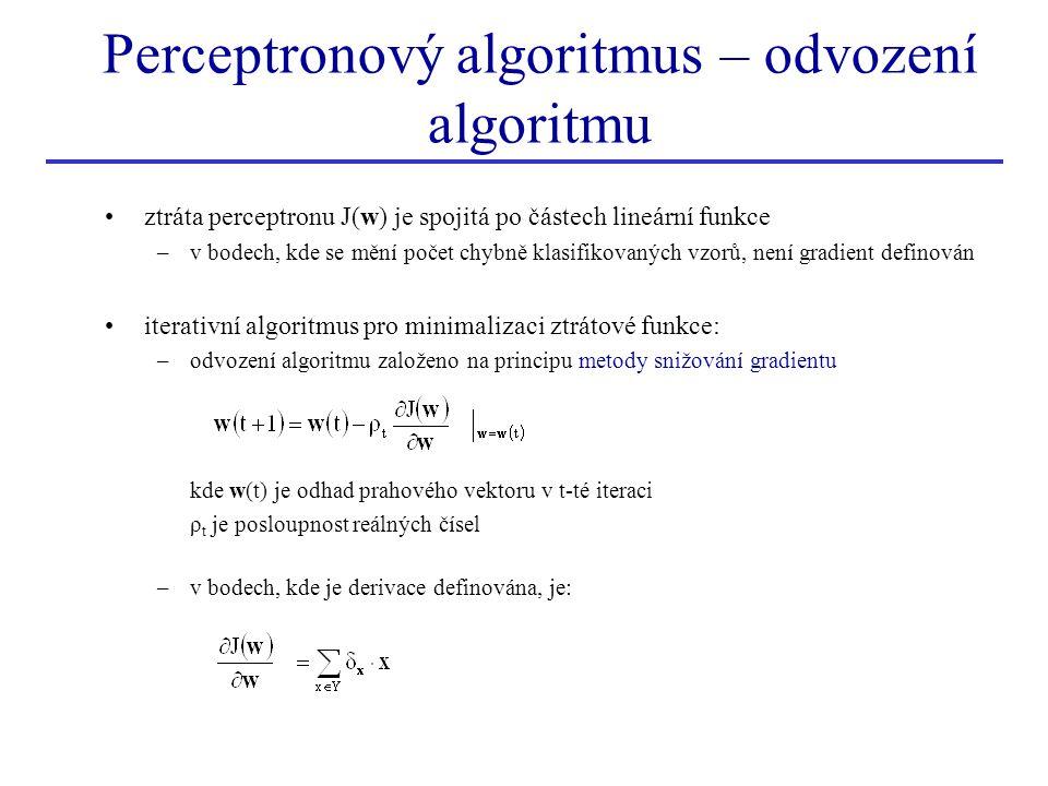 Perceptronový algoritmus – odvození algoritmu •ztráta perceptronu J(w) je spojitá po částech lineární funkce –v bodech, kde se mění počet chybně klasi