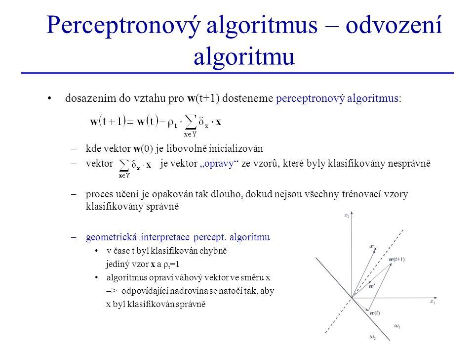 Perceptronový algoritmus – odvození algoritmu •dosazením do vztahu pro w(t+1) dosteneme perceptronový algoritmus: –kde vektor w(0) je libovolně inicia