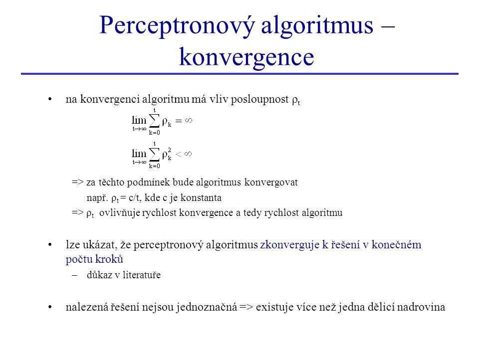 Perceptronový algoritmus – konvergence •na konvergenci algoritmu má vliv posloupnost ρ t => za těchto podmínek bude algoritmus konvergovat např. ρ t =