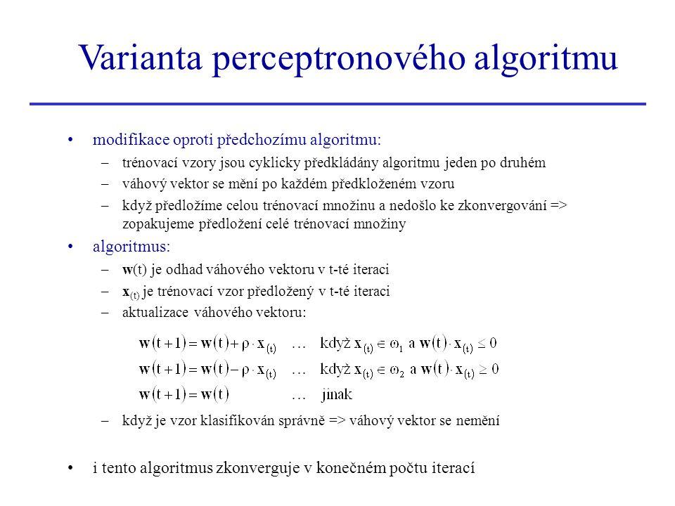 Varianta perceptronového algoritmu •modifikace oproti předchozímu algoritmu: –trénovací vzory jsou cyklicky předkládány algoritmu jeden po druhém –váh