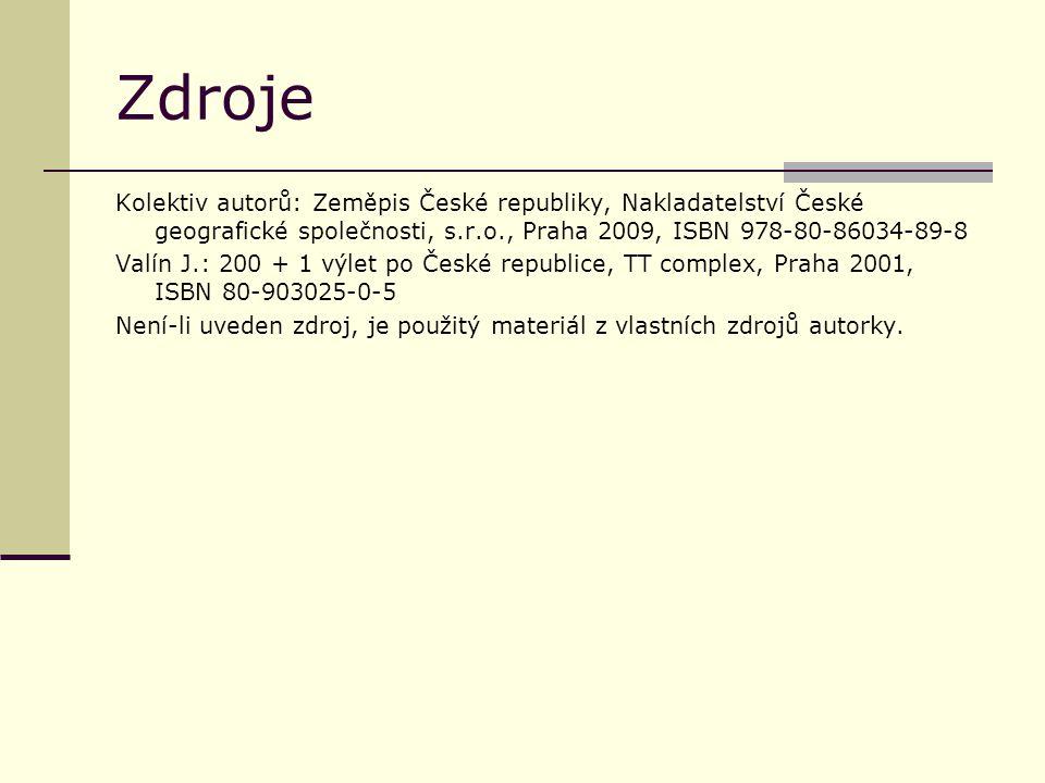 Zdroje Kolektiv autorů: Zeměpis České republiky, Nakladatelství České geografické společnosti, s.r.o., Praha 2009, ISBN 978-80-86034-89-8 Valín J.: 20