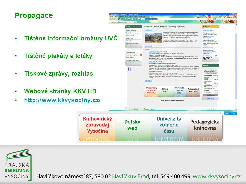 •Tištěné informační brožury UVČ •Tištěné plakáty a letáky •Tiskové zprávy, rozhlas •Webové stránky KKV HB •http://www.kkvysociny.cz/http://www.kkvysoc