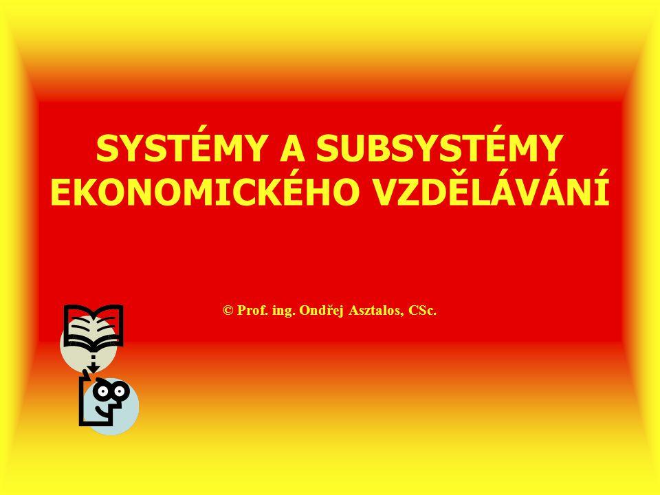 """Systémy a subsystémy ekonomického vzdělávání 1)Pojmy """"systém a subsystém ekonomického vzdělávání 2)Struktura školského systému, kde může probíhat ekonomické vzdělávání 3)Struktura mimoškolského vzdělávacího systému, kde může probíhat ekonomické vzdělávání 4)Hlediska hodnocení různých systémů a subsystémů ekonomického vzdělávání"""