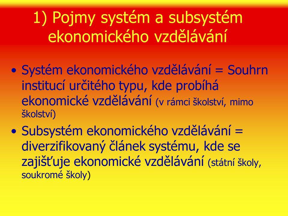 2) Struktura školského systému, kde může probíhat ekonomické vzdělávání  Subsystémy podle zřizovatelů či vlastníků (státní, veřejné, krajské, soukromé, církevní)  Subsystémy podle stupňů vzdělávání 1) První vzdělávací úroveň – základní škola (v rámci neekonomických předmětů či prostřednictvím výuky ekonomického předmětu) 2) Druhá vzdělávací úroveň – neúplné střední vzdělání (bez maturity, obory učňovské přípravy v rámci ekonomického předmětu)