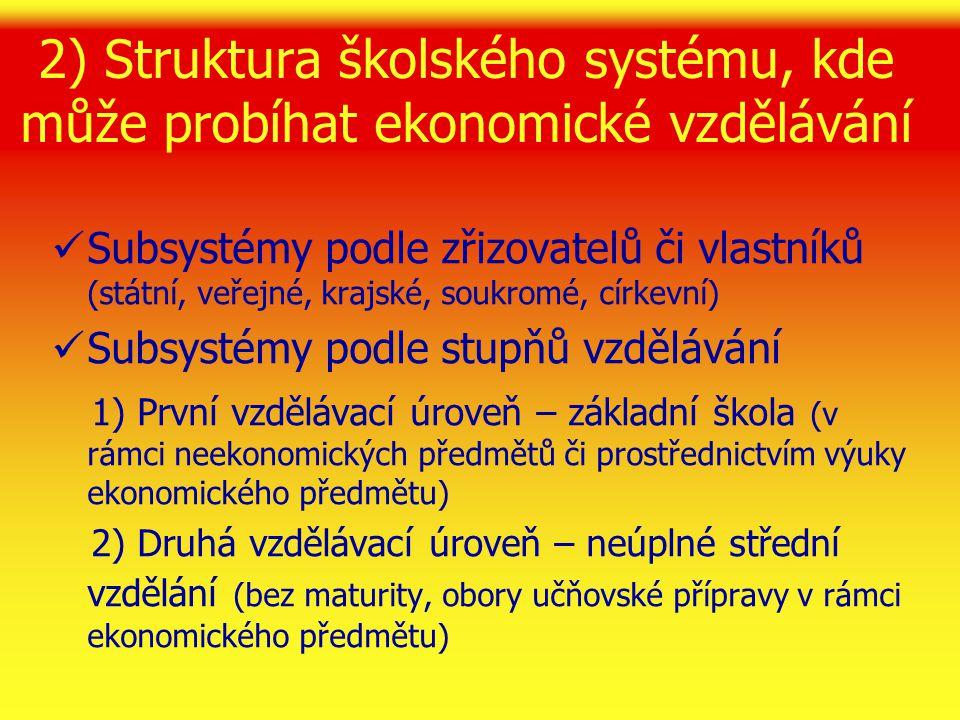2) Struktura školského systému, kde může probíhat ekonomické vzdělávání 3) Třetí vzdělávací úroveň – úplné střední vzdělání (s maturitou v učňovském školství a na středních odborných školách v rámci soustavy ekonomických předmětů) 4) Čtvrtá vzdělávací úroveň – vyšší odborné vzdělání (s absolutoriem v rámci soustavy ekonomických předmětů) 5) Další vzdělávací úrovně – vysokoškolské vzdělávání (bakalářské, magisterské, doktorské v rámci soustavy ekonomických disciplín)