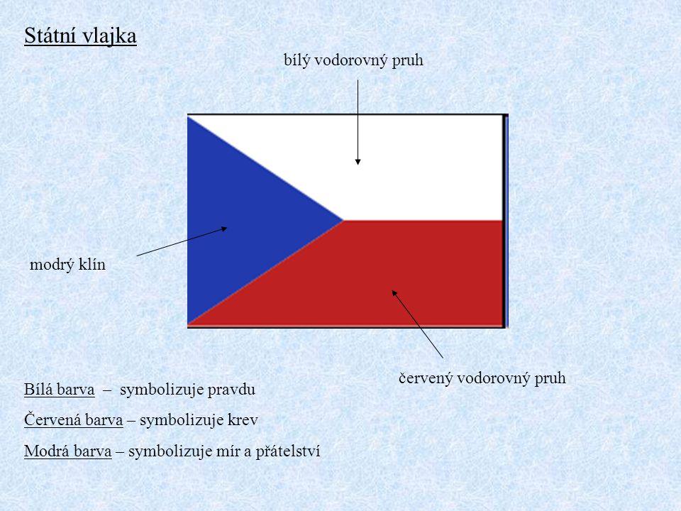 Státní vlajka bílý vodorovný pruh červený vodorovný pruh modrý klín Bílá barva – symbolizuje pravdu Červená barva – symbolizuje krev Modrá barva – sym