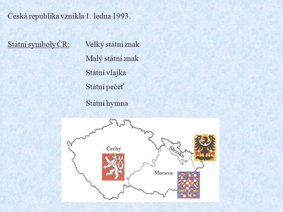 Velký státní znak - je rozdělen na 4 pole Červeno-bílá moravská orlice Ve dvou polích je český lev V jednom poli černá slezská orlice