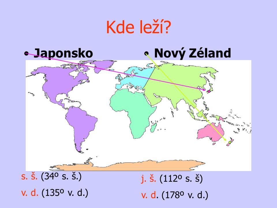 •Japonsko•Nový Zéland j. š. (112º s. š) v. d. (178º v. d.) s. š. (34º s. š.) v. d. (135º v. d.) Kde leží?
